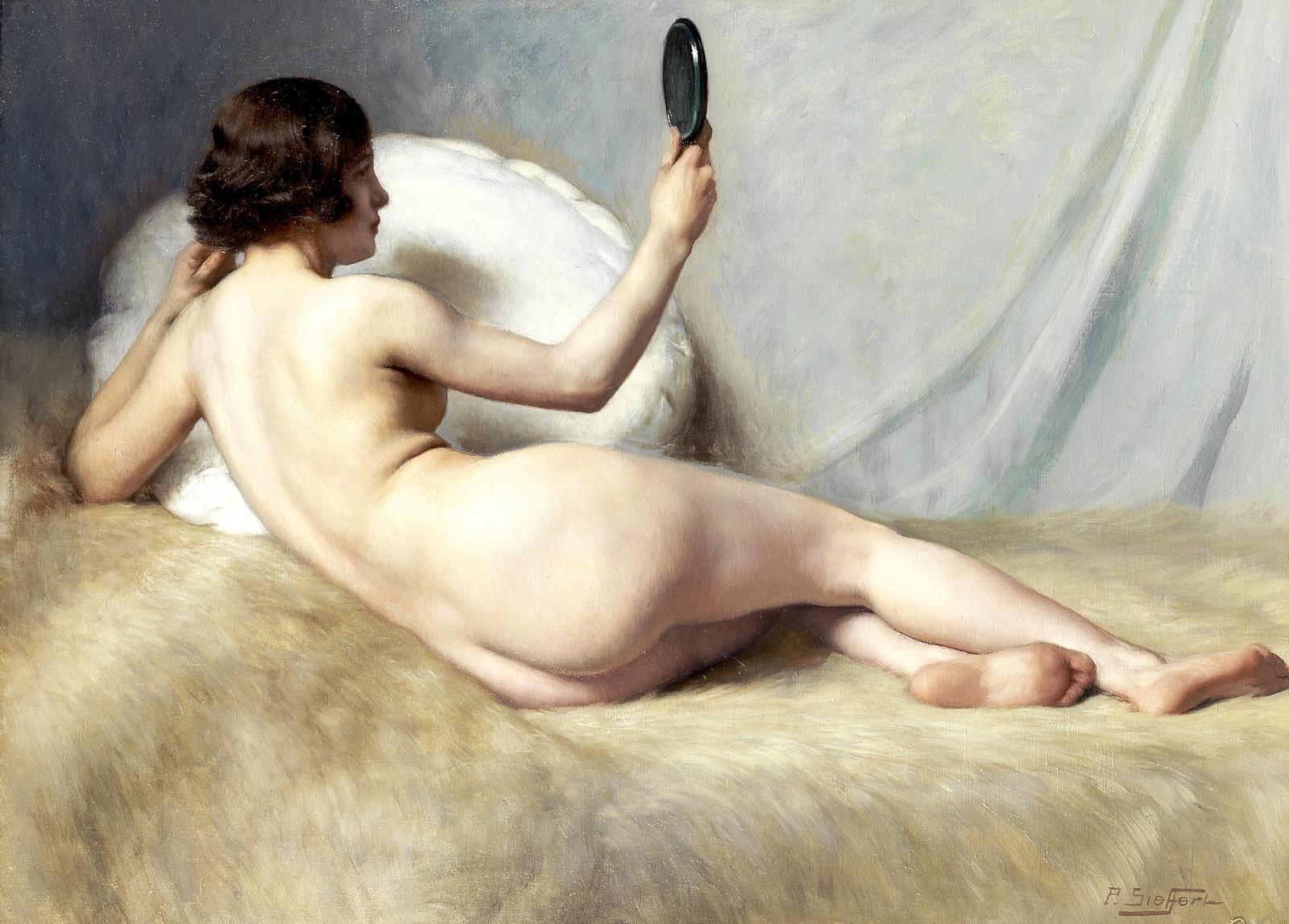 Поль Зиффер. №184. Лежащая обнаженная (Reclining Nude). 60 x 81.5. Холст, масло. Частное собрание.