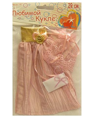 Платье из жатой парчи - Розовый / золото. Одежда для кукол, пупсов и мягких игрушек.