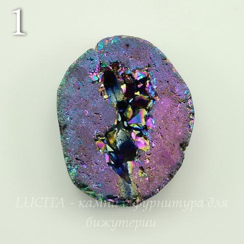 Бусина Агат с Кварцем с жеодой (тониров), цвет - бензиновый, 24-26 мм (№1 (24х23 мм))