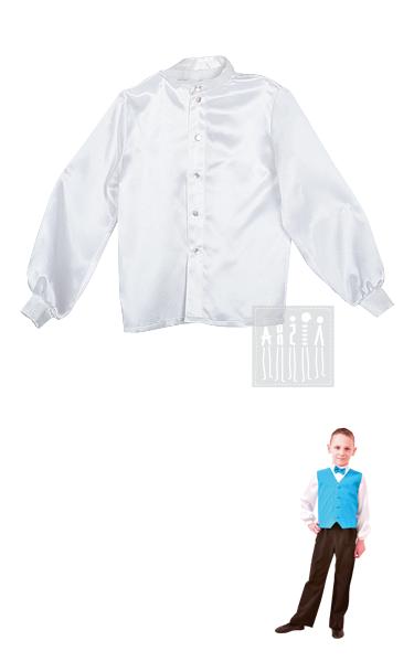 Рубашка для бальных танцев для мальчиков  изготовлена из креп-сатина, застегивается спереди на пуговицы.