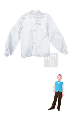 Картинка Рубашка для бальных танцев для мальчиков  изготовлена из креп-сатина, застегивается спереди на пуговицы.