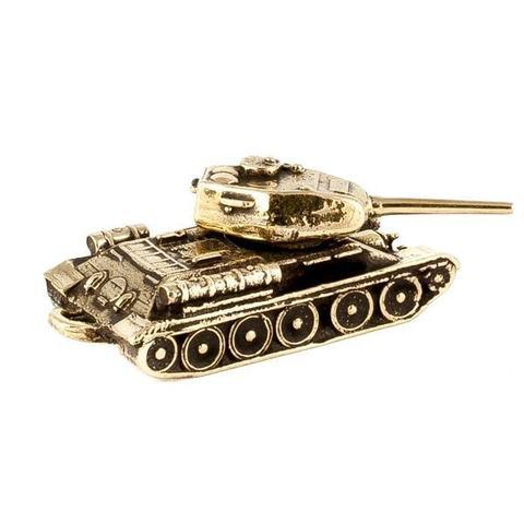 Миниатюрная модель статуэтка из бронзы отечественного производства советского танка Т-34-85 с крутящейся башней RH01317