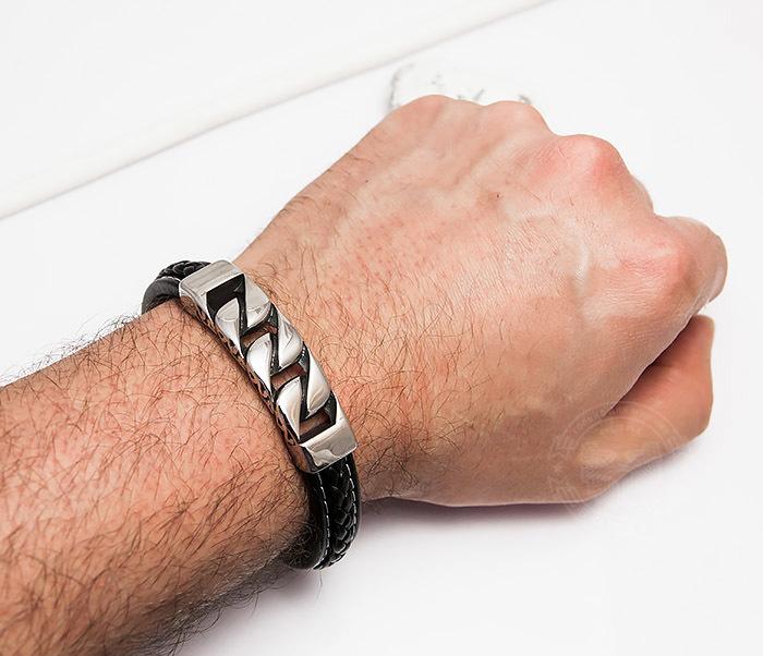 BM454 Массивный мужской браслет из кожи и стали (21 см) фото 06