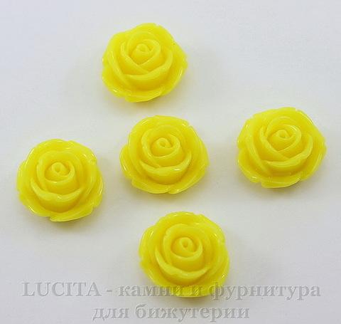 """Кабошон акриловый """"Роза"""", цвет - желтый, 18 мм"""