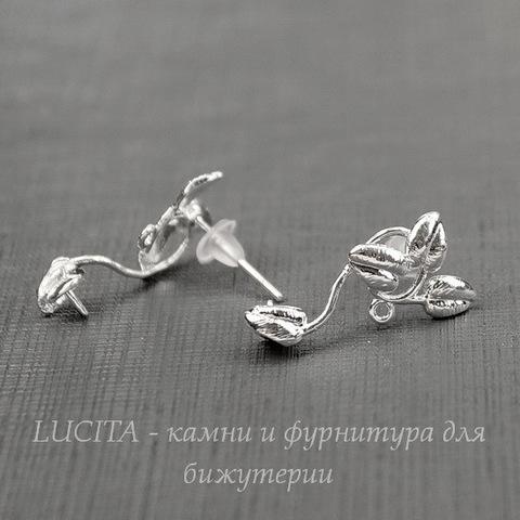 """Пуссеты - гвоздики """"Веточки"""" 18х9 мм (цвет - серебро)(с заглушками)"""
