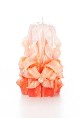 Свеча-резная ручной работы LACE CORAL-S(кружева коралл), h 9 см TM Aromatte