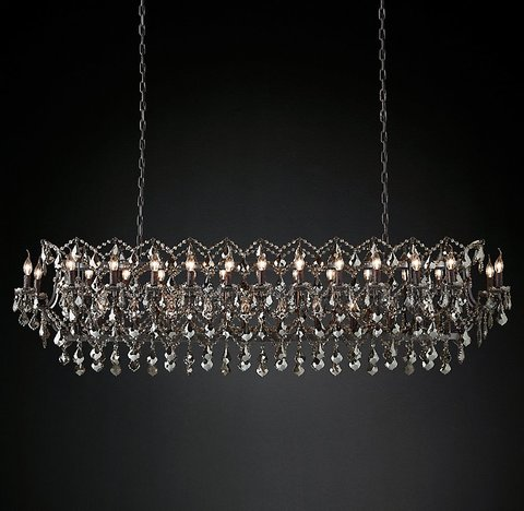 19th C. Rococo Iron & Smoke Crystal Rectangular Chandelier 73