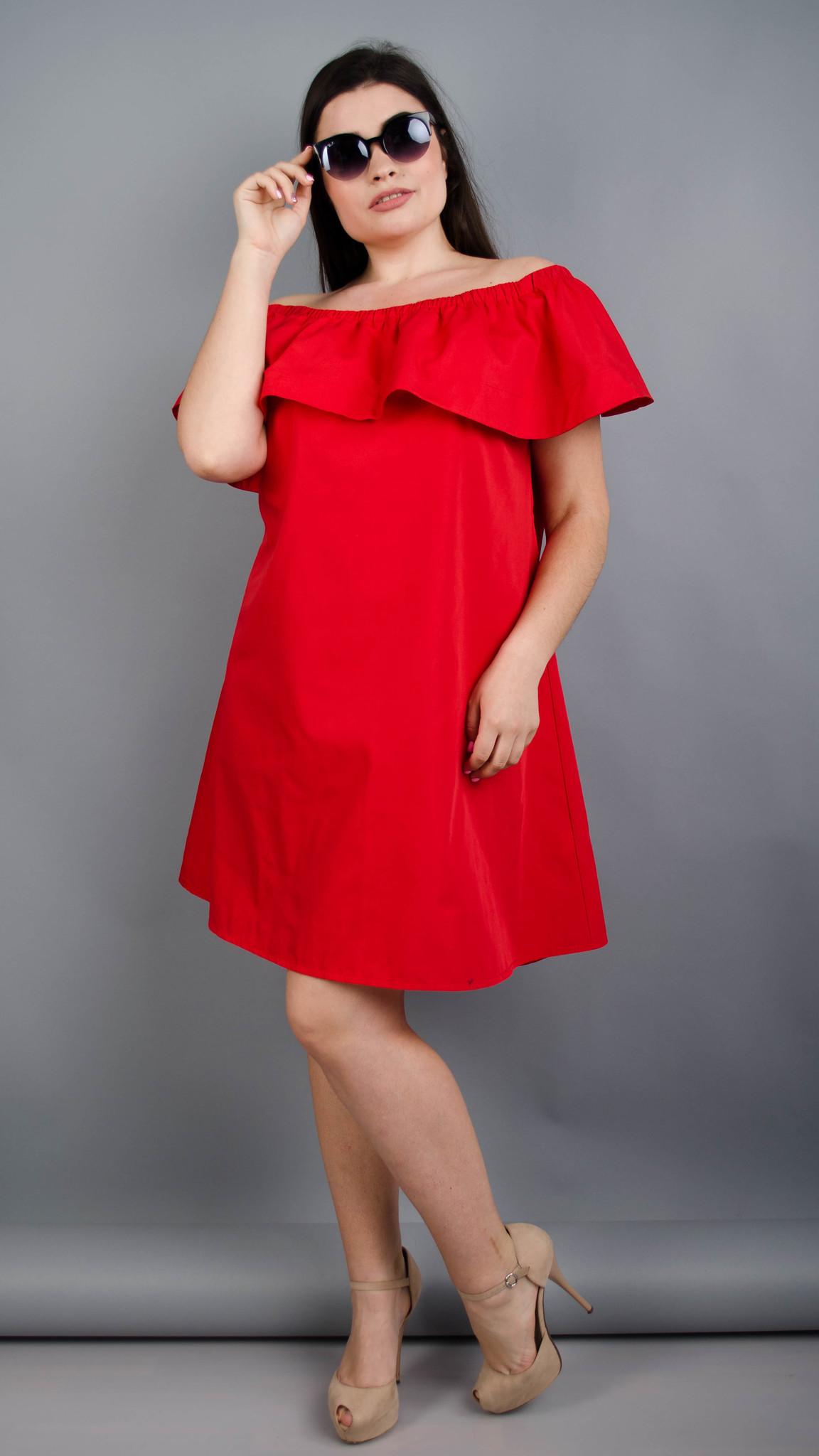 Балі. Модне плаття з воланом великих розмірів. Червоний.