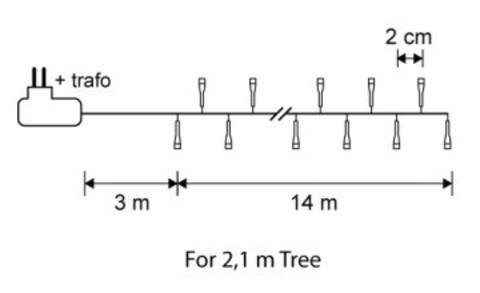 Гирлянда Luca Lighting холодный свет (700 ламп, длина гирлянды 1400 см) для ёлки 215 см