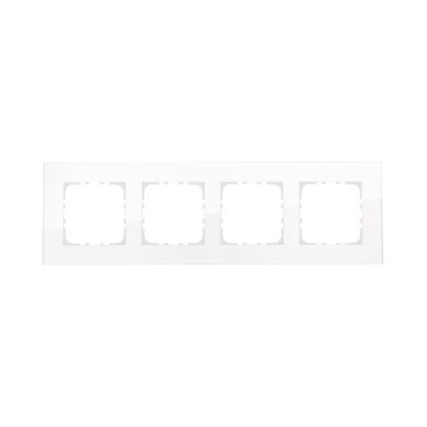 Рамка на 4 поста, натуральное стекло. Цвет Белый. LK Studio LK80 (ЛК Студио ЛК80). 844413-1