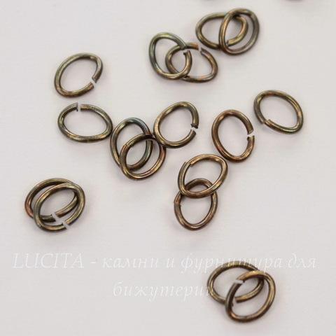 Винтажное колечко овальное одинарное 7х5х0,9 мм (цвет - мультиколор), 10 штук
