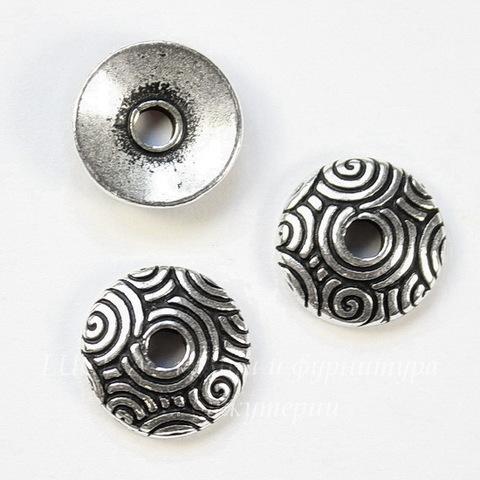 "Шапочка для бусины TierraCast ""Спирали"" (цвет-античное серебро) 11х3 мм"