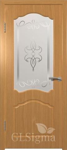 Дверь GreenLine Sigma-3, художественное стекло, цвет миланский орех, остекленная