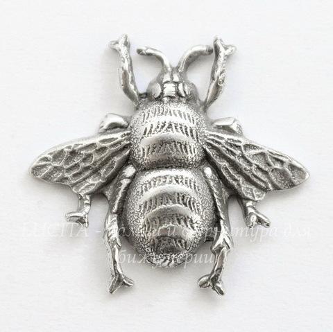 """Винтажный декоративный элемент - штамп """"Пчела"""" 19х18 мм (оксид серебра) (светлые)"""