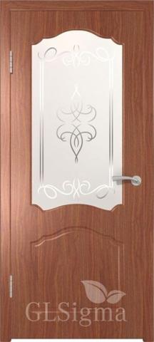 Дверь GreenLine Sigma-3, художественное стекло, цвет итальянский орех, остекленная