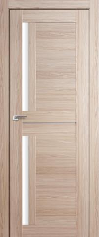 Дверь GreenLine X-16, стекло белое, цвет капучино, остекленная