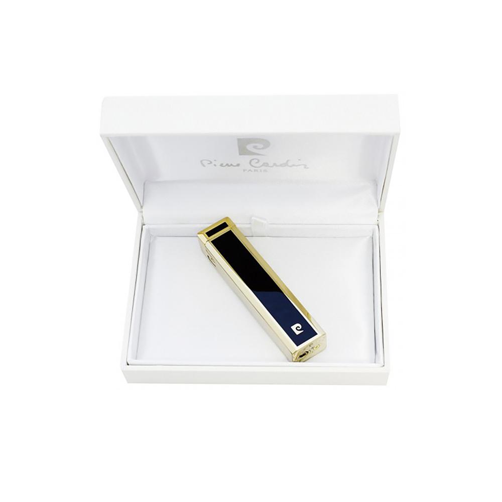 Зажигалка Pierre Cardin кремниевая газовая пьезо, цвет позолота/черный лак, 1,7х1,7х7,5см