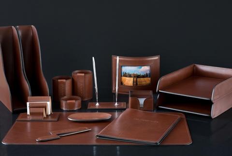 Канцелярский настольный набор руководителя 15 предметов из кожи Full Grain Toscana, Dk.Таn