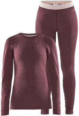 Тёплый Комплект термобелья с шерстью мериноса CRAFT Merino Wool 180 Violet Melange женский