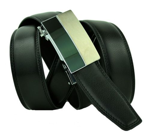 Ремень мужской брючный чёрный дутый прошитый из качественной кожи для крупных полных мужчин 35 мм с автоматической пряжкой 35Auto-B-010