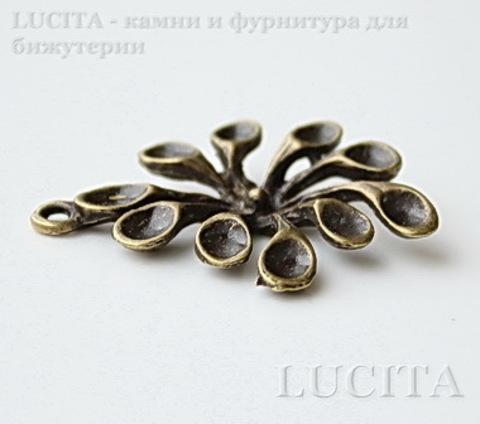 """Подвеска """"Морской цветок"""" (цвет - античная бронза) 31х22 мм"""