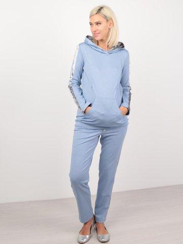 Евромама. Костюм для беременных и кормящих брюки и свитшот, голубой