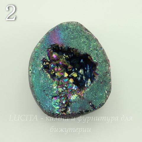 Бусина Агат с Кварцем с жеодой (тониров), цвет - бензиновый, 24-26 мм (№2 (24х23 мм))