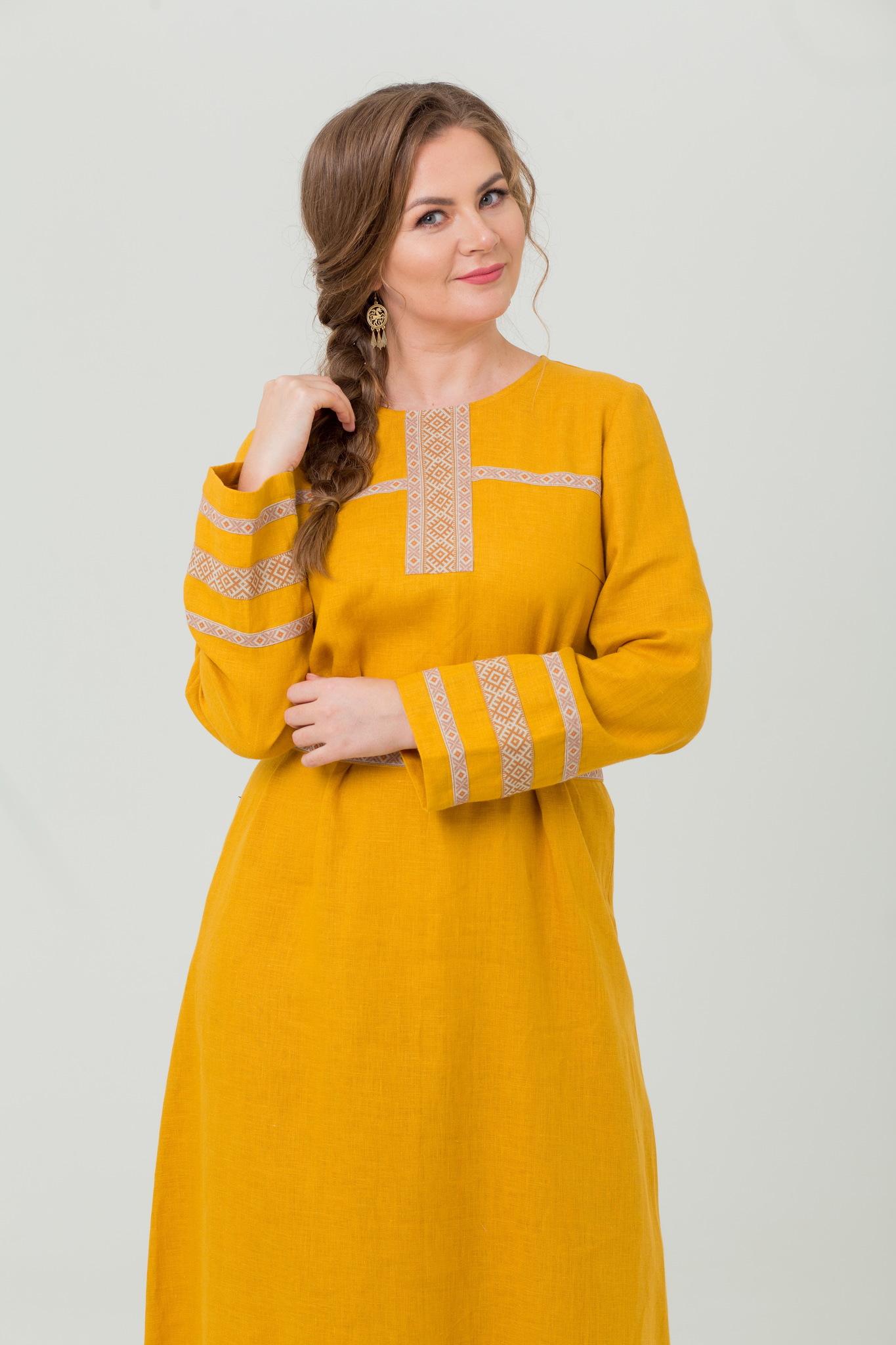 Традиционное русское платье Горицвет из льна