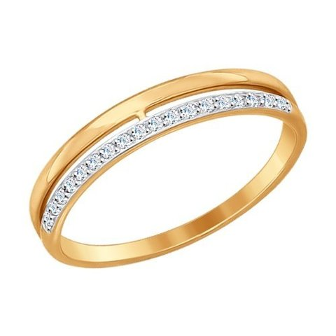 Обручальное кольцо из золота с фианитами от SOKOLOV арт.017151