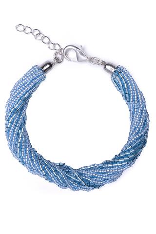 Бисерный браслет 12 нитей голубой
