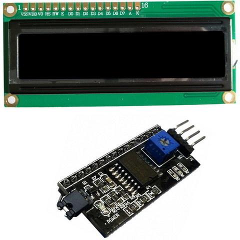 Набор дисплей LCD1602 + 1602 LCD конвертер в IIC/I2C