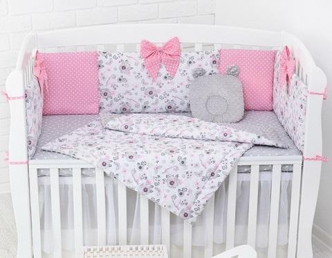 Комплект в детскую кроватку с бортиками Птички в цветах