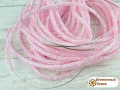 Шнур трубчатый глиттерный светло-розовый 40 см
