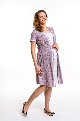 Комплект для беременных и кормящих с халатом и сорочкой 09432 капучино