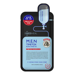 Mediheal M.E.N Timetox Black Mask - Тканевая маска мужская угольная очищающая