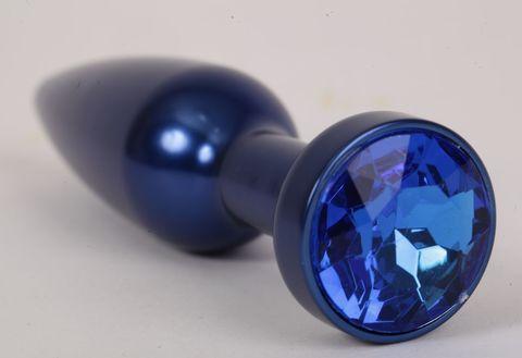 Большая синяя анальная пробка с синим стразом - 11,2 см.