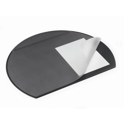 Коврик на стол DURABLE 7290 52х65см полукруглый прозр.лист черный
