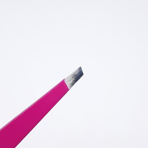 Пинцет для бровей скошенный розовый, РАЗМЕР: 95MM, RT-309