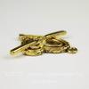 Замок - тоггл из 2х частей  в виде сердца (цвет - античное золото) 26х15 мм, 27 мм
