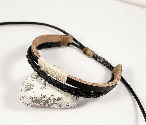 BL440-1 Мужской браслет ручной работы из кожи на затяжках