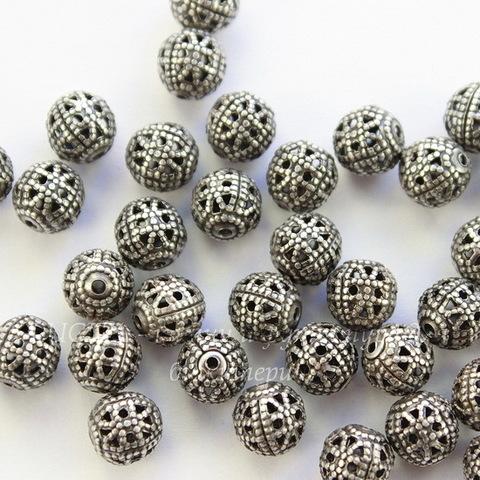 Винтажный элемент - бусина шарик филигрань 6 мм (оксид серебра)