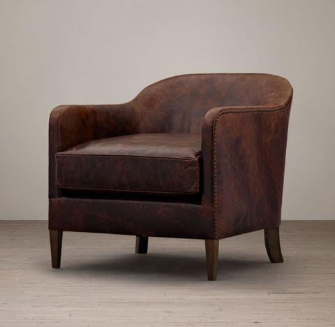 1950s French Tuxedo Leather Club Chair