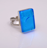 Кольцо Silver голубое