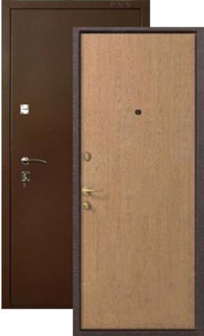 Дверь входная Меги ДС-150, 2 замка, 1,2 мм  металл, (медь+беленый дуб)