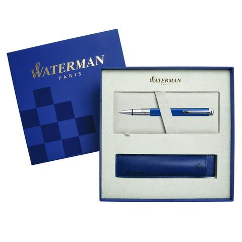 Подарочный набор Шариковая ручка Waterman Perspective, Blue Obsession CT с чехлом