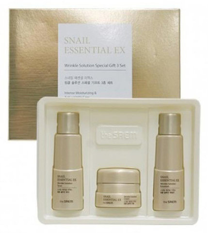 THE SAEM Snail Essential Набор уходовый антивозрастной  (Not fot sale)Snail Essential EX Wrinkle Solution Special Gift 3 Set 31мл*2/10мл
