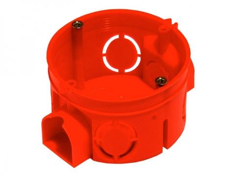 Установочная коробка СП D68х42мм, саморезы, стыковочные узлы, красная, IP20, TDM