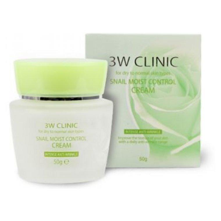 3W Clinic Увлажняющий крем для лица Улиточный, Snail Moist Control Cream, 50 гр