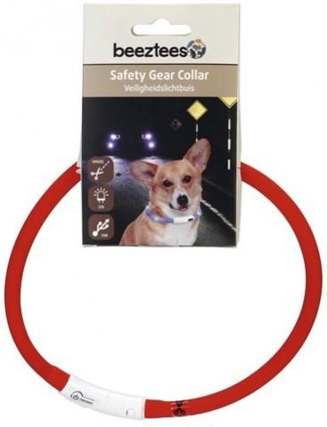 Beeztees ошейник для собак силиконовый светящийся с USB красный 70см*10мм