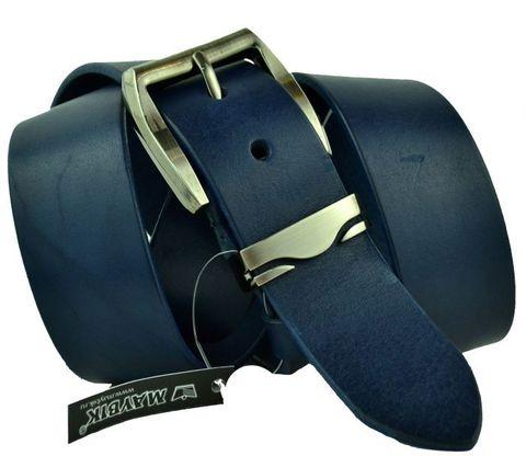 Хороший мужской кожаный российский джинсовый синий ремень 40 мм 40maybik-072